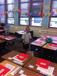 First Grade means... real desks!