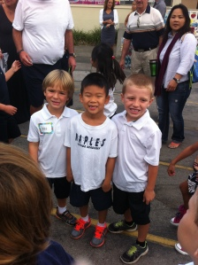 T and a couple of his best buddies in school are classmates again this year (yay!).