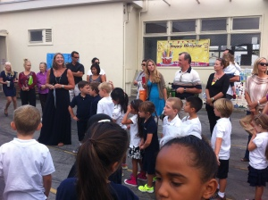 Everyone line up, line up... everyone line up! Welcome to First Grade, kids!