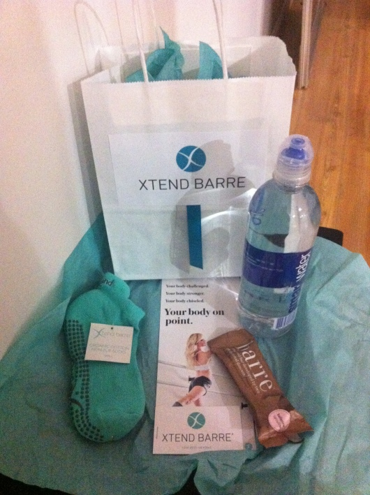 Xtend Barre Seal Beach swag bag included a pair of barre socks, Smart Water, Barre-brand nutrition bar, and another complimentary class.