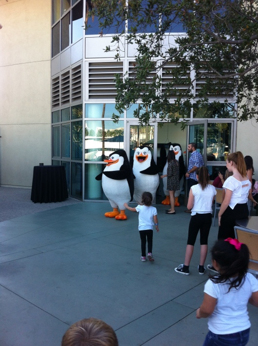 The march of the Penguins... of Madagascar (the movie) at the Aquarium of the Pacific on November 5, 2014.