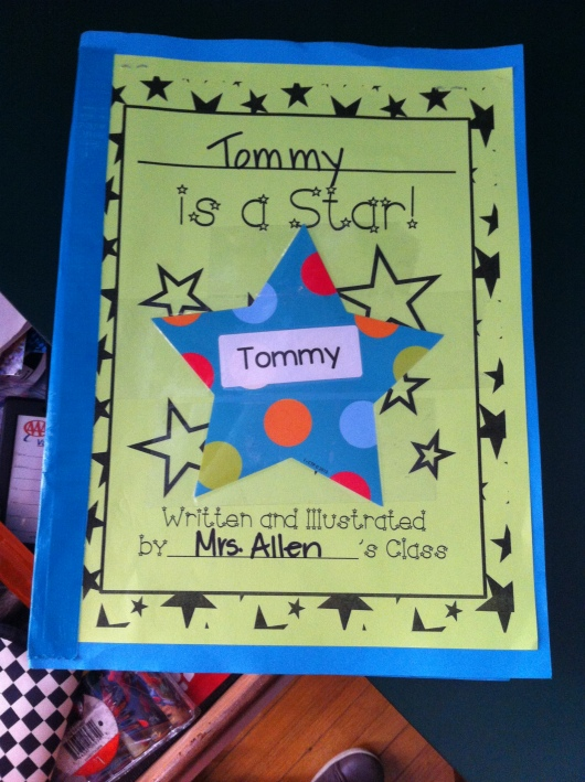 T's very special Star-of-the-Week book, written by his classmates and teacher.