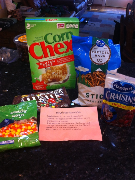 All you and/or the kid(s) need to make Mayflower Munch Mix.