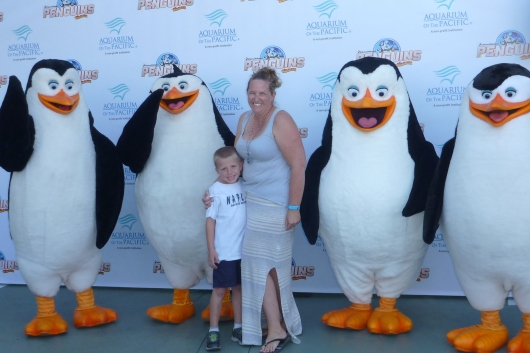 T and I with the Penguins of Madagascar during a special event at the Aquarium of the Pacific.