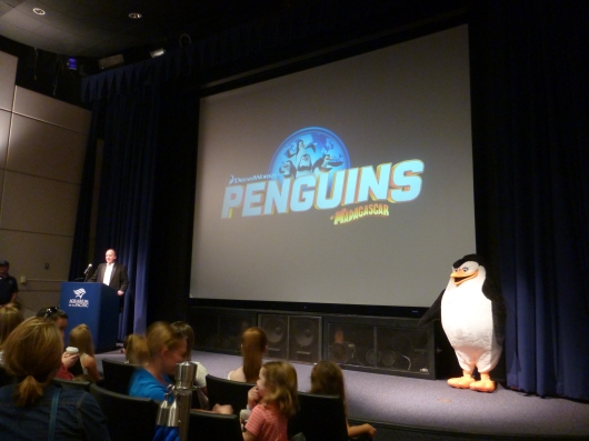 McGrath speaks to attendees at the Aquarium of the Pacific about the upcoming movie Penguins of Madagascar (in theaters November 26, 2014).