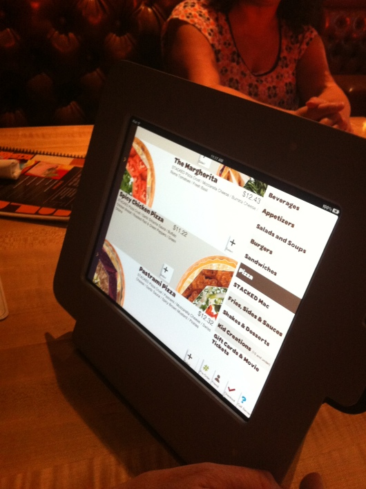 Stacked iPads: Just a menu, not a gaming device. Though it is a fun game putting together your meal!