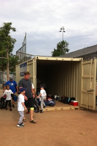By Wednesday morning of his week at Tom Hicks Baseball Camps, T was motivated to step up and help collect lunches from the other players as they arrived.