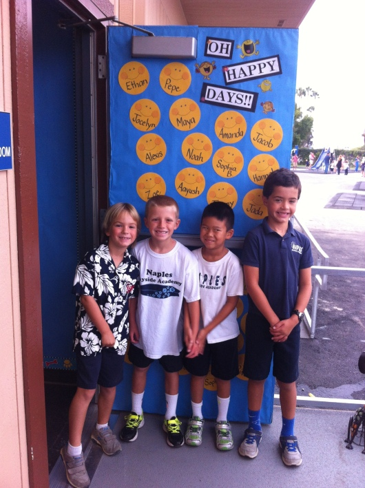 Now fast-forward to T's classroom door, which was all decorated up and ready for eager 2nd graders! T was happy to find many friends in his class this year (whew!).