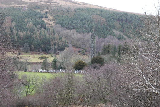 View from the road of the Old Monastic City in Wicklow-Glendalough, Ireland.