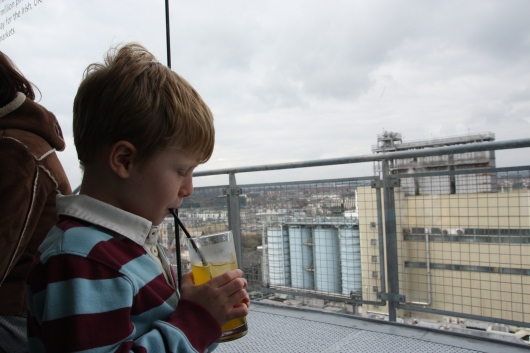 Round out your visit to the Guinness Storehouse at their penthouse-level Gravity Bar. Kids can get a Guinness-free beverage made with syrup and soda.