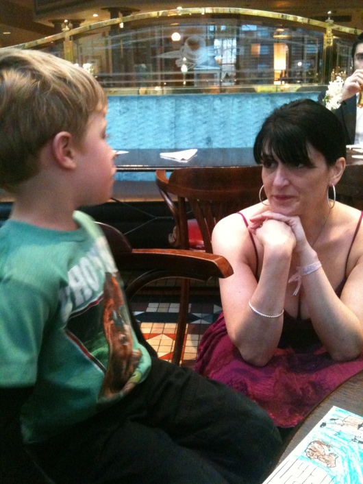 T made a friend at our hotel meet-and-greet, who just happened to be a children's book author! This kid definitely has all the luck.