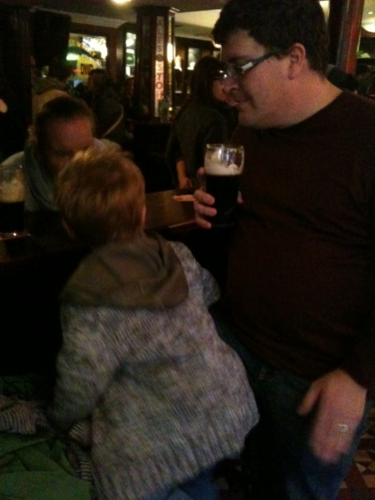 T chatting up the locals in The Quays Bar, Dublin.